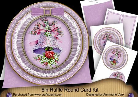 Lilac Bell Special Day 8in Round Ruffle Mini Card Kit on Craftsuprint - Add To Basket!