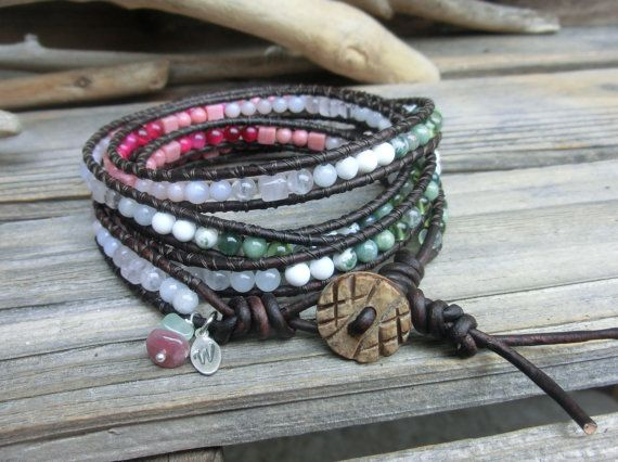 Spring Sakura Cherry Blossom Leather Wrap by OffOnAWhimJewelry, $26.00
