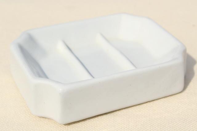 antique vintage white ironstone soap dish, heavy old porcelain china soapdish