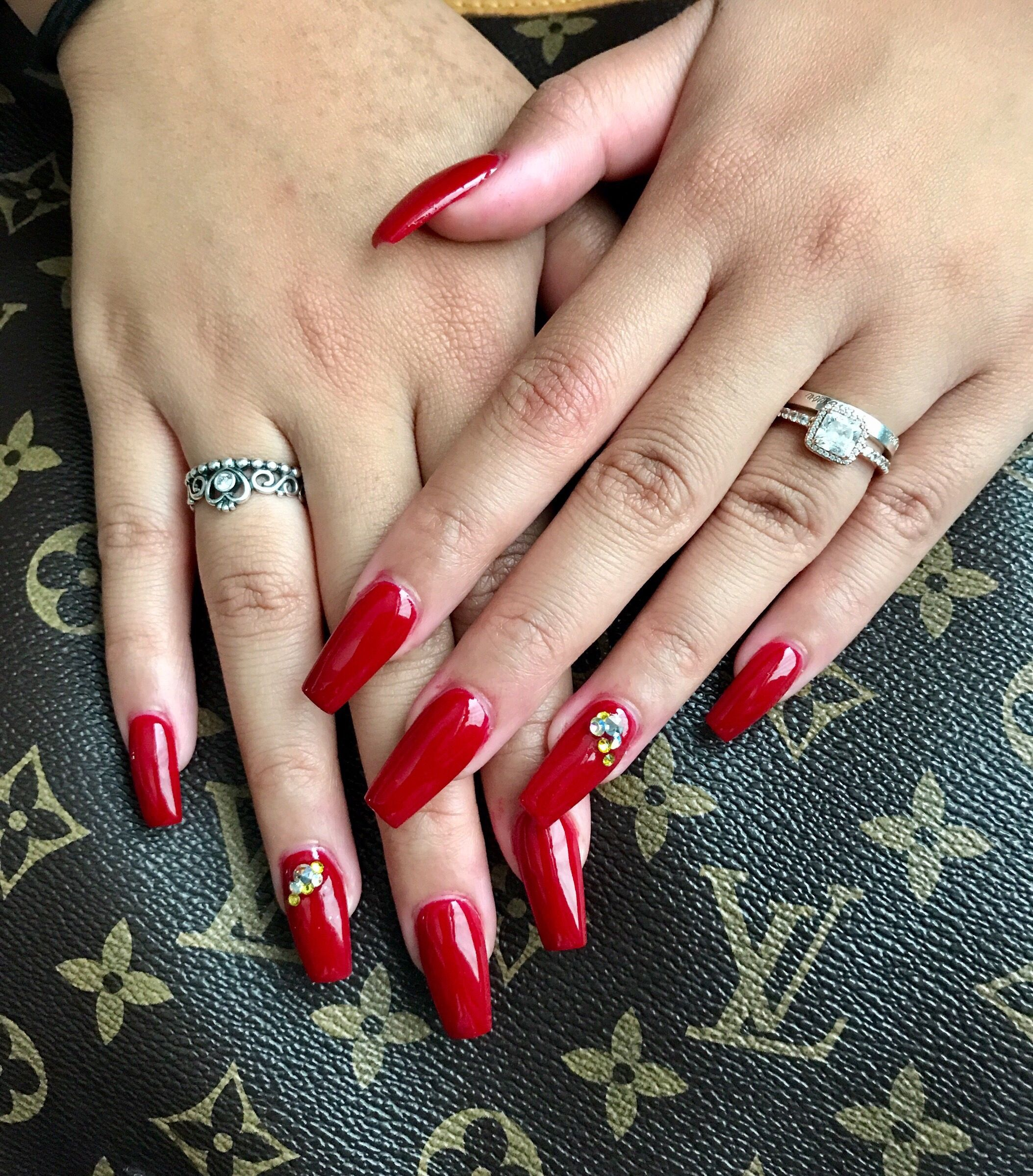 Simple Red Coffin Shaped Nails Powdered Acrylics With Swarovski Crystals Coffin Shape Nails My Nails Nails