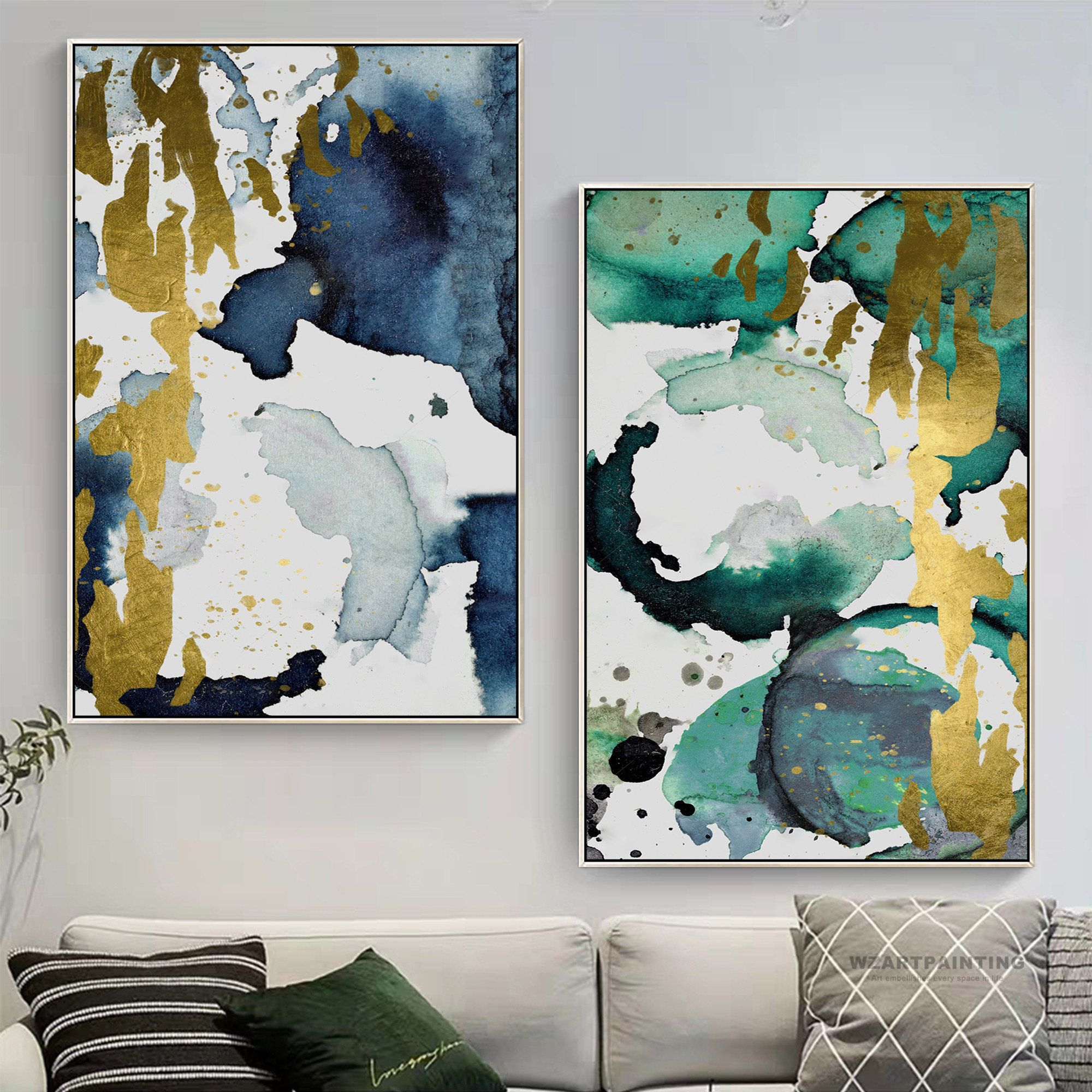Framed Wall Art Set Of 2 Prints Abstract Gold Green Navy Blue Print Painting Gold Art Pictures On Canvas Wall Art P Framed Wall Art Sets Wall Art Sets Abstract