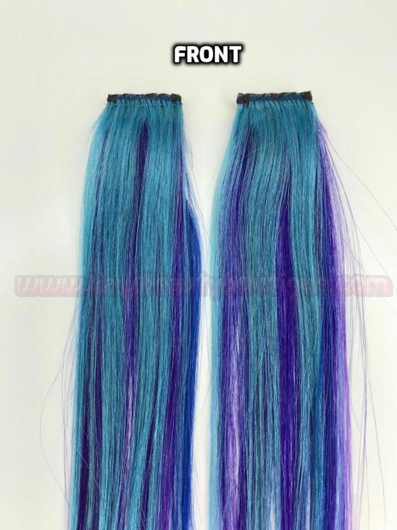 100 Human Hair Bright Turquoise Teal Purple Blue Strip Etsy In 2020 Blue Hair Extensions 100 Human Hair Human Hair