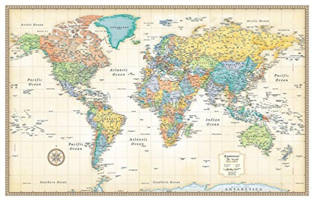 world classic series rolled laminated map beige by rand on laminated wall maps id=35763
