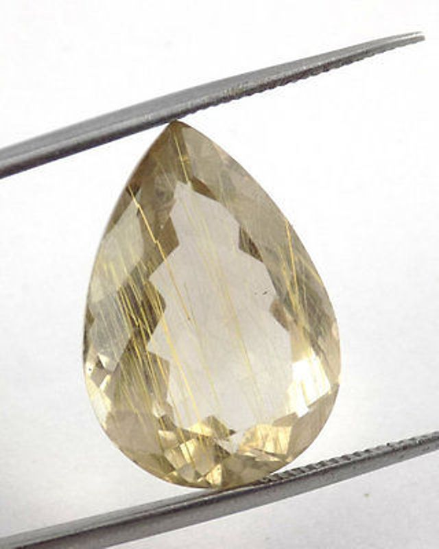 1 Pieces Natural Golden Rutile Pear 13x19mm 12.47Cts Normal Cut Loose Gemstone #Raagarw