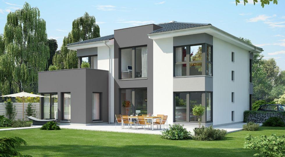 Fassadengestaltung einfamilienhaus grau  OKAL mit Eingangsportal grau | home | Pinterest | Grau, Stadtvilla ...