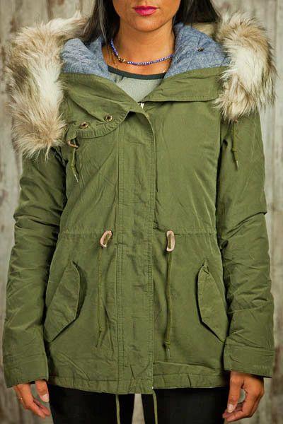 manteau femme parka simple fashione shanone military