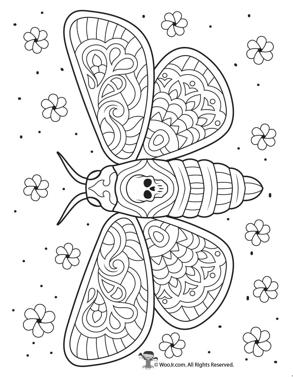 Day Of The Dead Moth Intricate Coloring Page Woo Jr Kids Activities Skull Coloring Pages Abstract Coloring Pages Coloring Pages