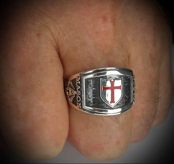 Knights Templar Silver Masonic Bespoke Cigar band Ring