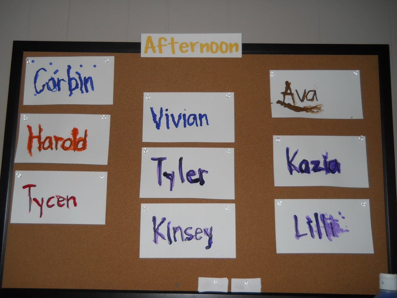 Name tracing with qtips! Name tracing, Preschool, Pre k