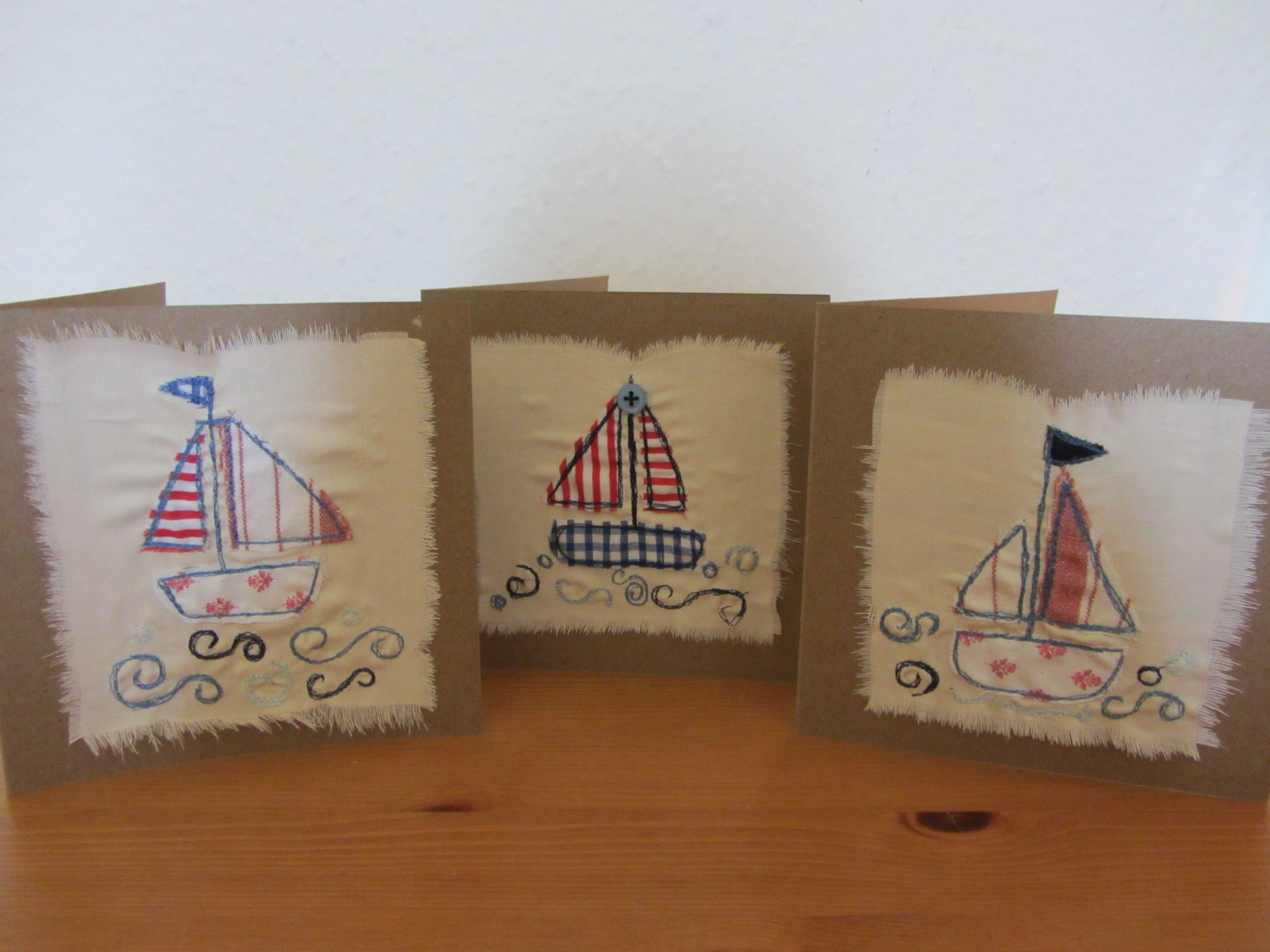 Handmade christmas robin decoration claire hurd design - I Saw Three Ships Handmade Fabric Cards
