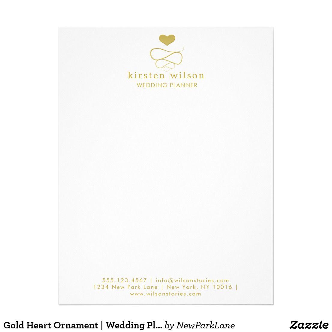 Gold Heart Ornament Wedding Planner Letterhead Of