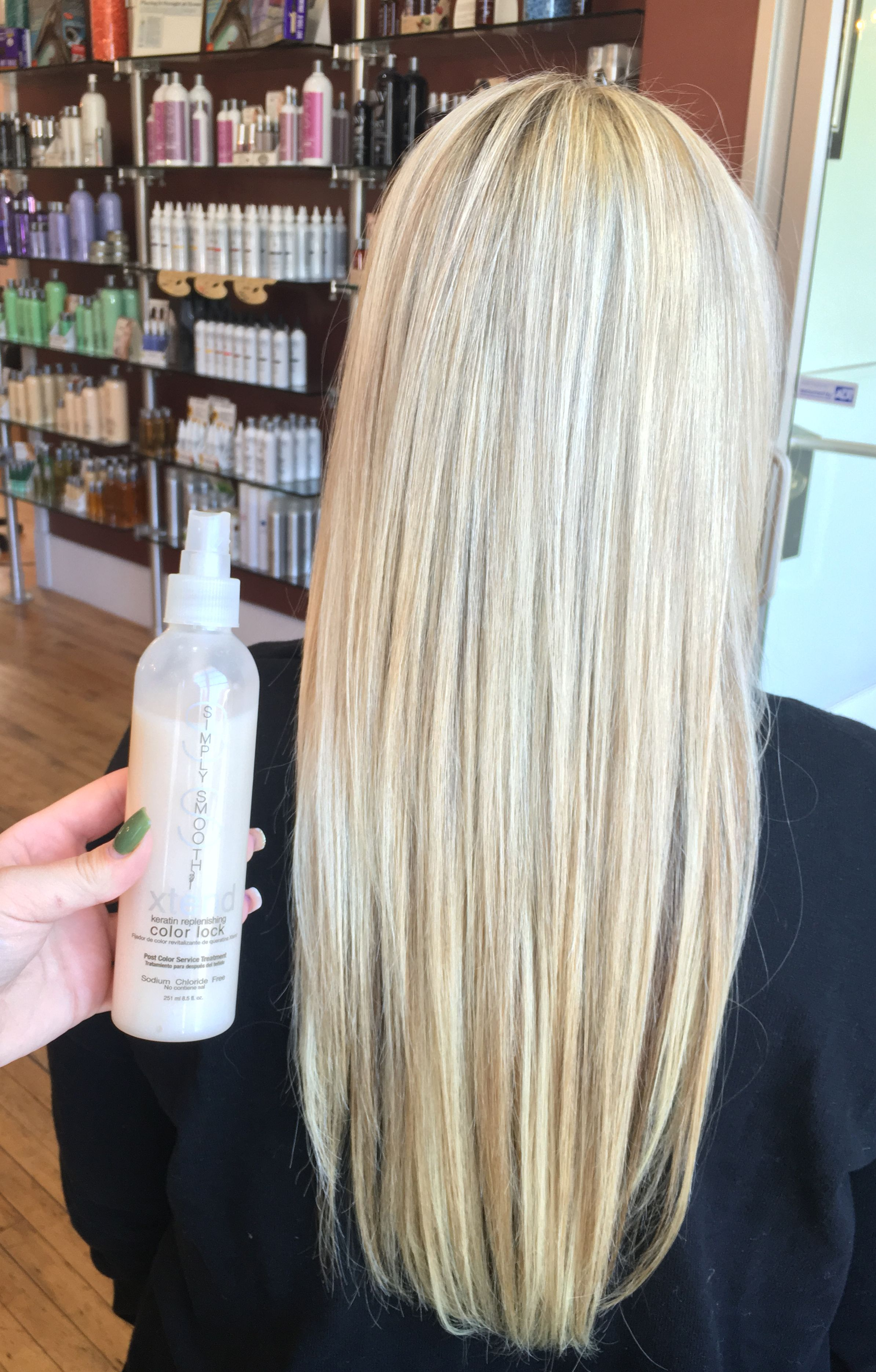 After a highlighting service Simply Smooth Color Lock was used to ...
