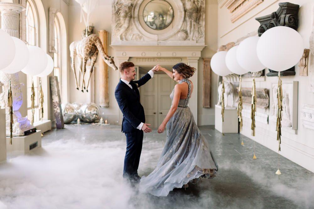 Summer Wedding At Aynhoe Park With Grey Organza Bridal Gown