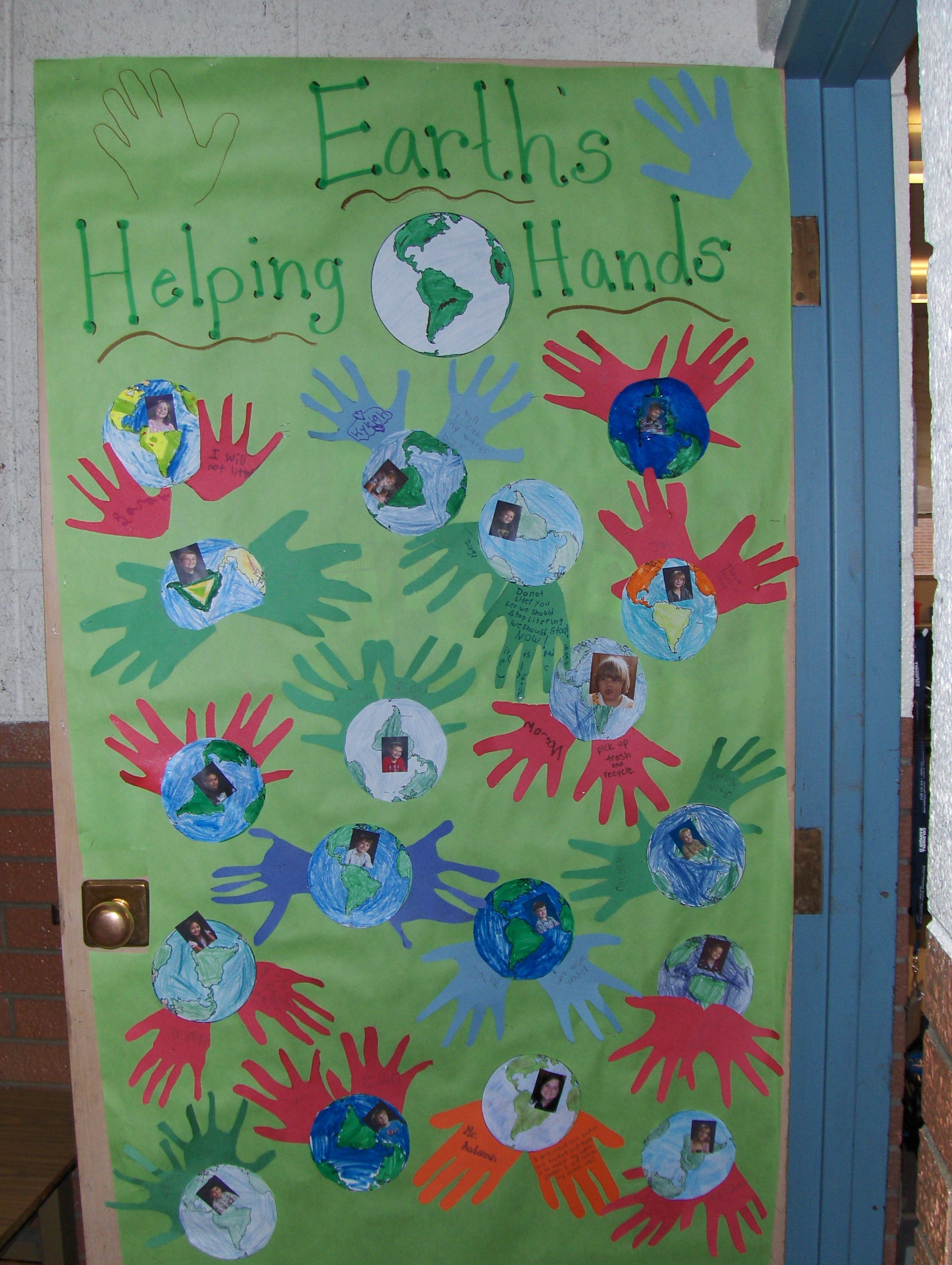 Classroom Ideas For Earth Day ~ Earth s helping hands classroom door decoration for