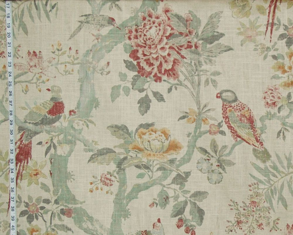 Bird Fabric Asian Tree Of Life Parrot Watercolor Vintage