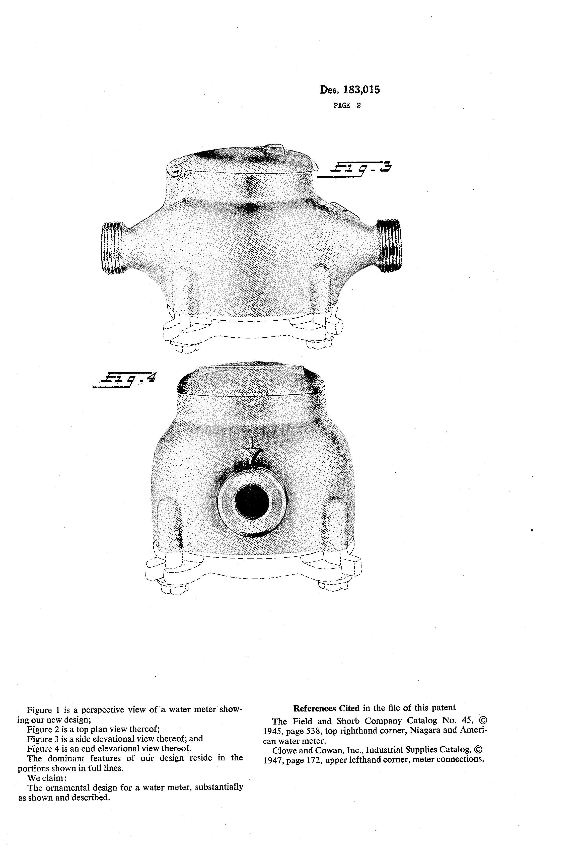 Patent USD183015 - Water meter - Google Patents