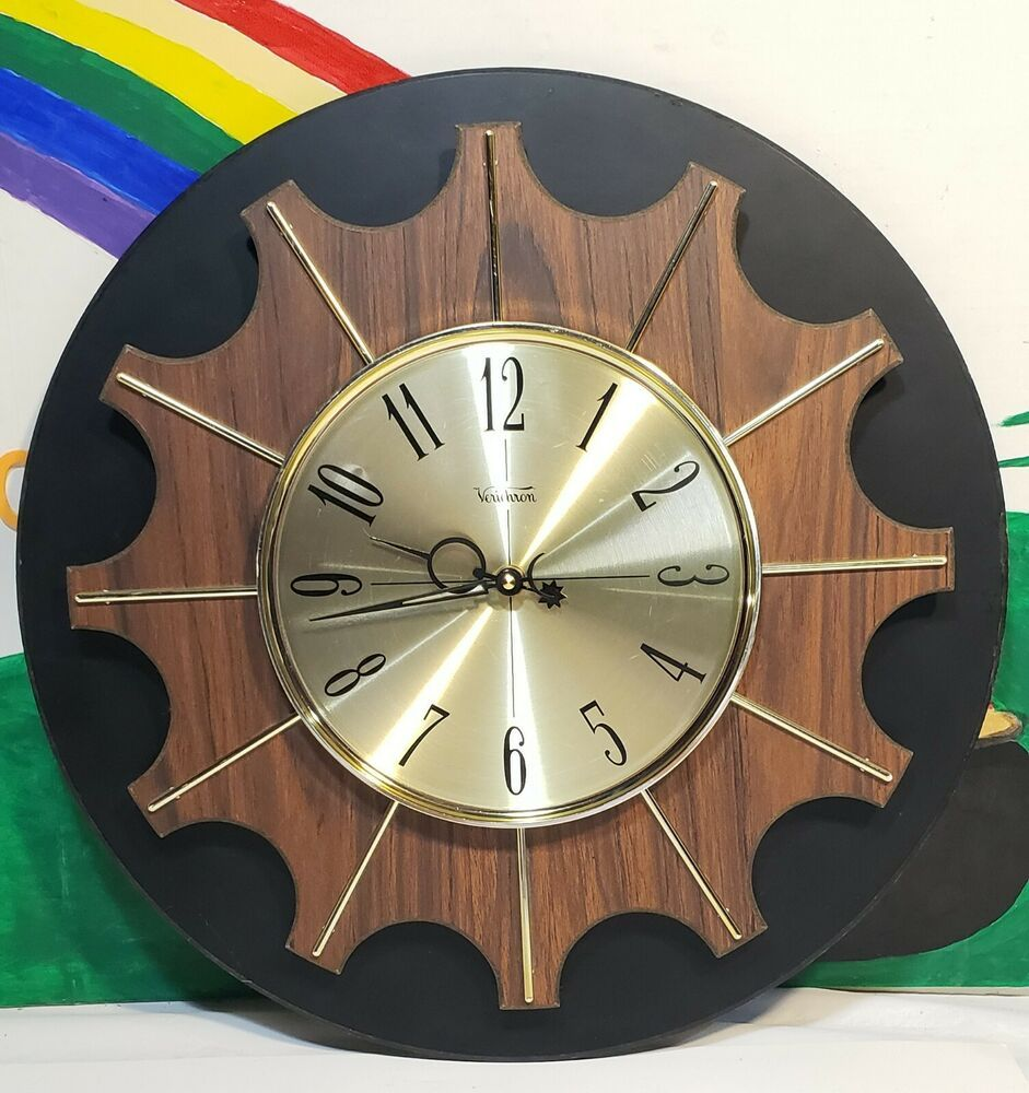 Verichron Large Mid Century Modern Battery Operated Wall Clock