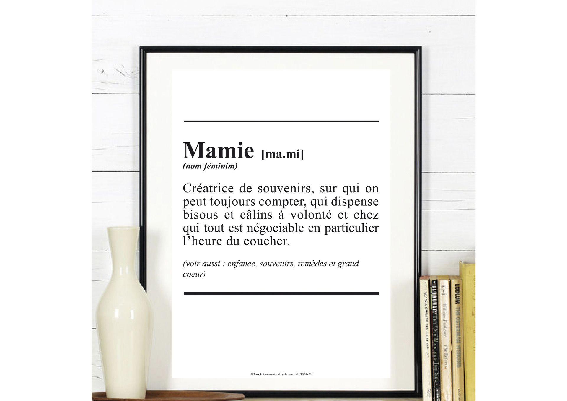 Affiche Définiton ' Mamie ' - texte - à télécharger- peut etre personnalisé : Affiches, illustrations, posters par affiche-rgb4you