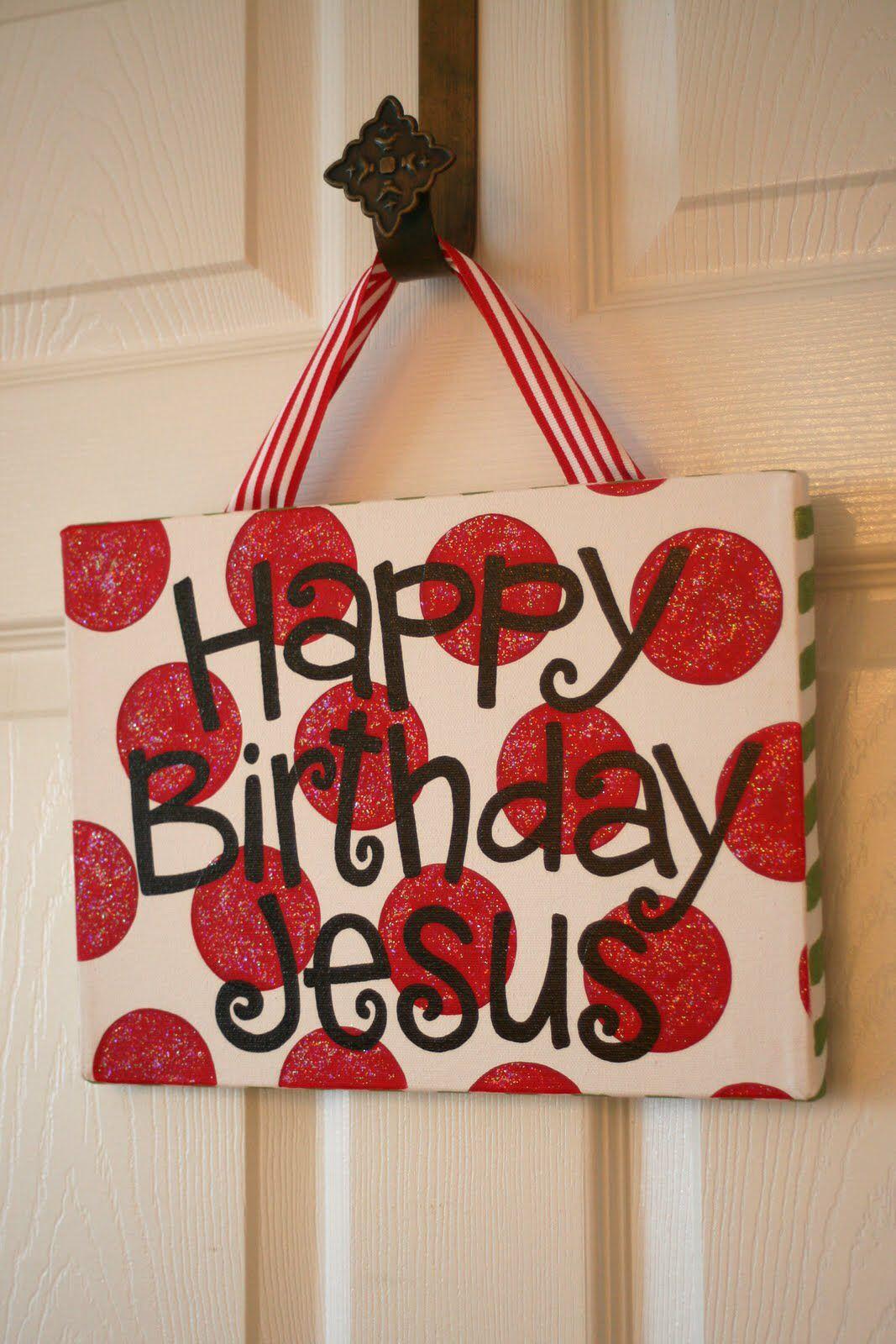 Happy birthday Jesus Christmas canvas, Happy birthday