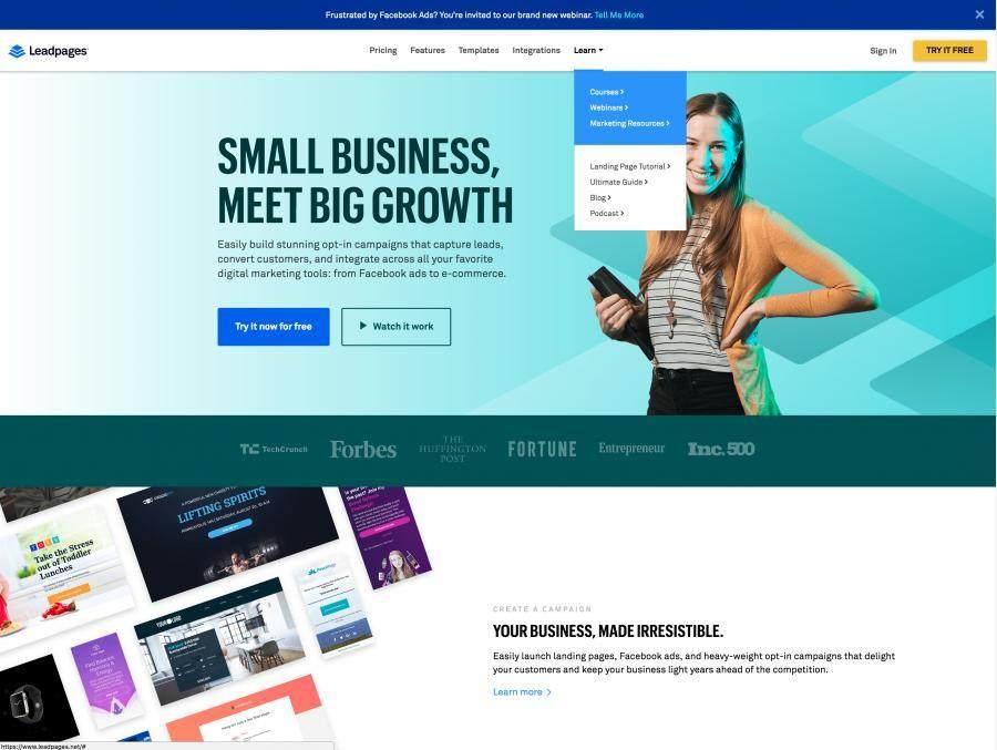 Lead Pages Landing Page Builder Drop Down Menu And Header Design In 2020 Header Design Landing Page Builder Digital Marketing Tools