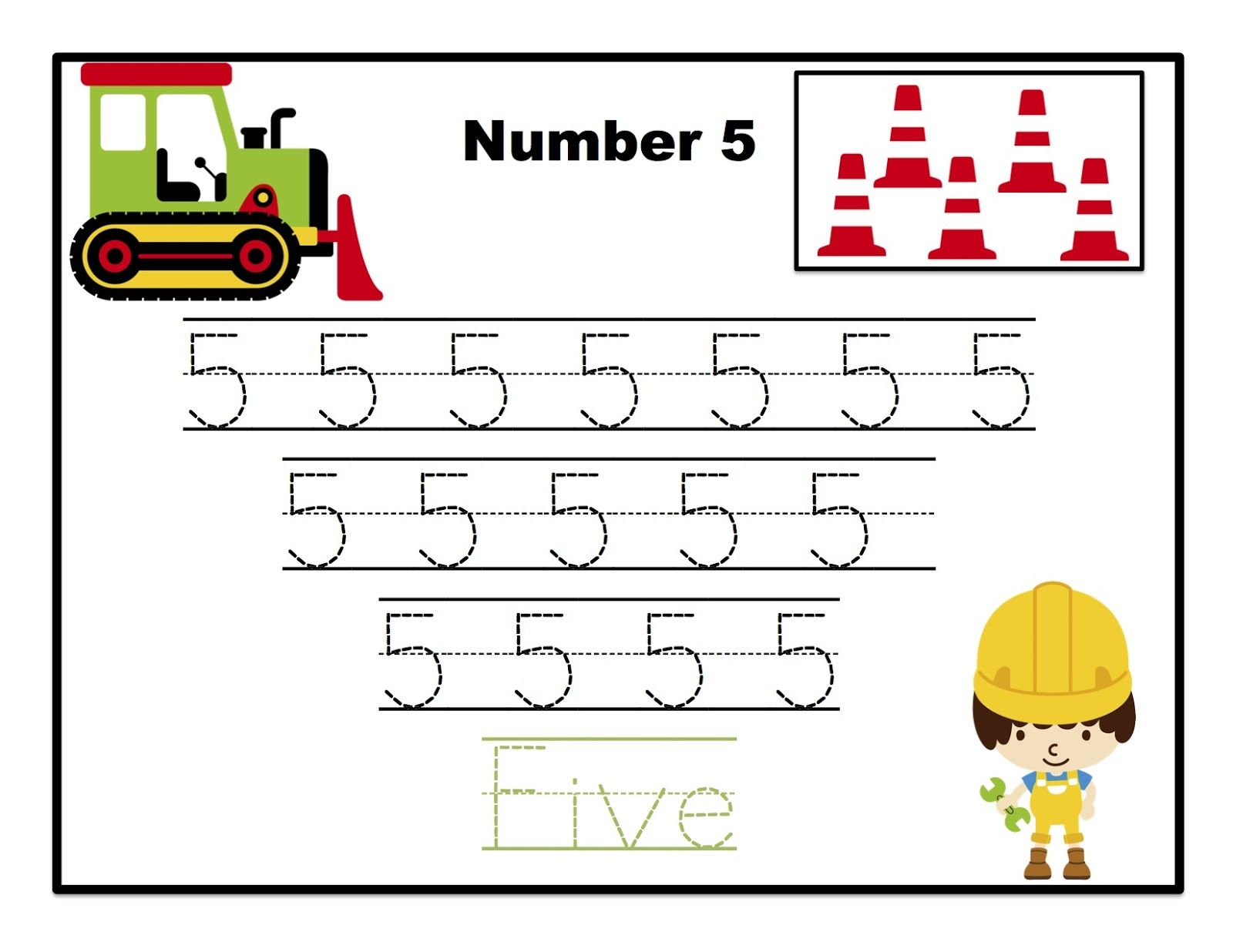 worksheet Tracing Number 5 Worksheets construction number tracing printable preschool printables five printables