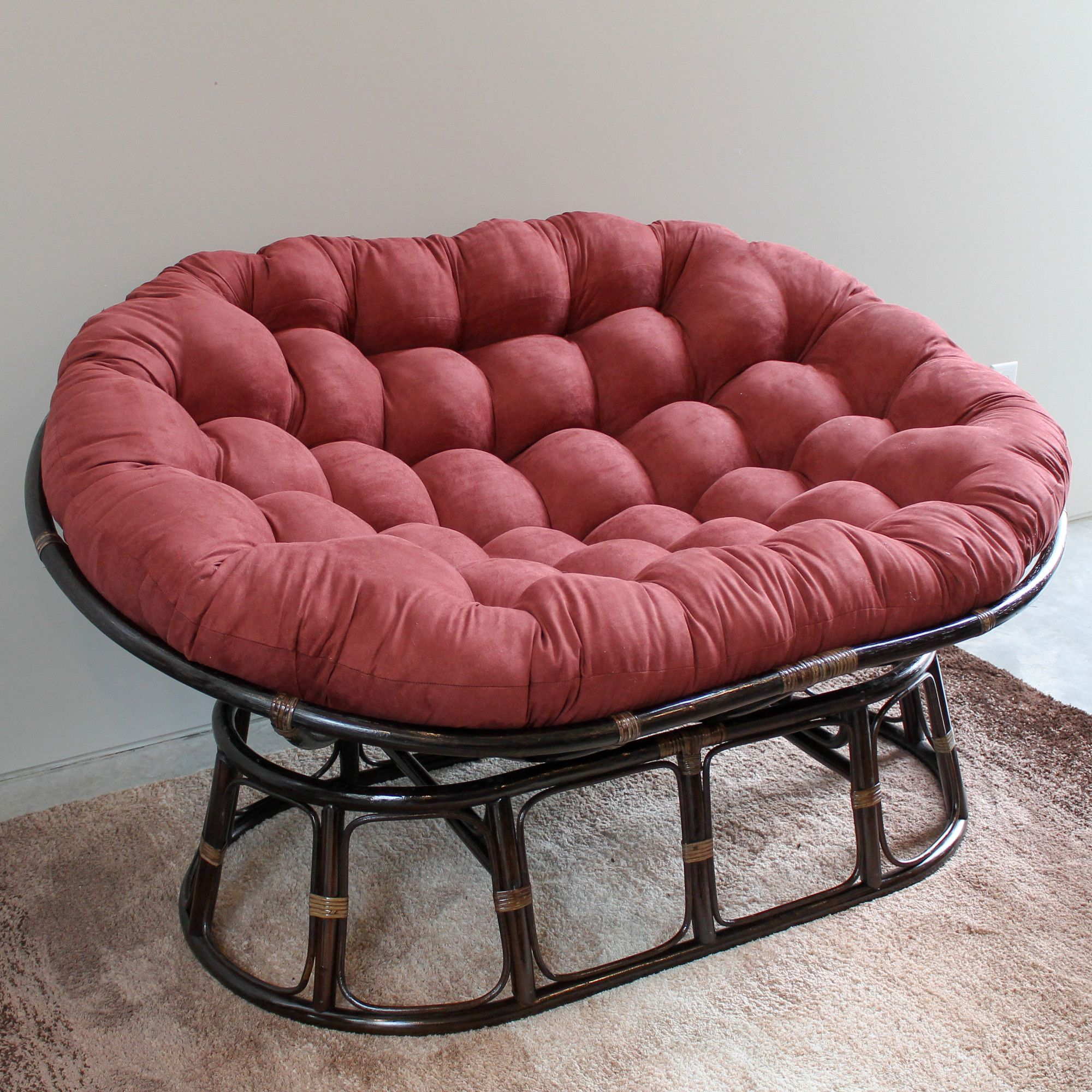 Features Rattan Double Papasan Chair With Custom Made Micro Suede Cushion Hand From 100 Pure Fits 2 Persons Comfortably