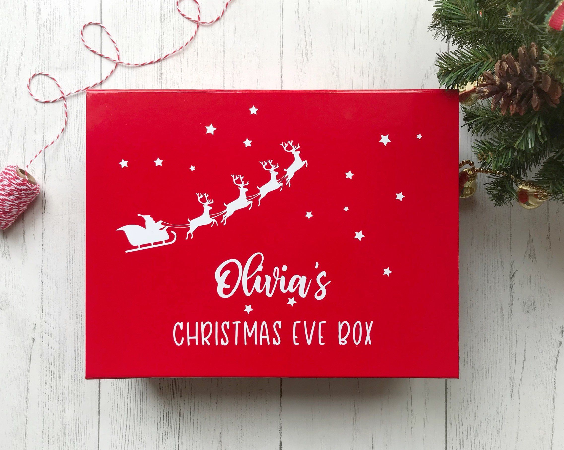 Large Red Christmas Eve Box Personalised With Child S Name Christmas Keepsake Box Christmas Eve Gift Christmas Eve Box Christmas Eve Gift Christmas Keepsakes