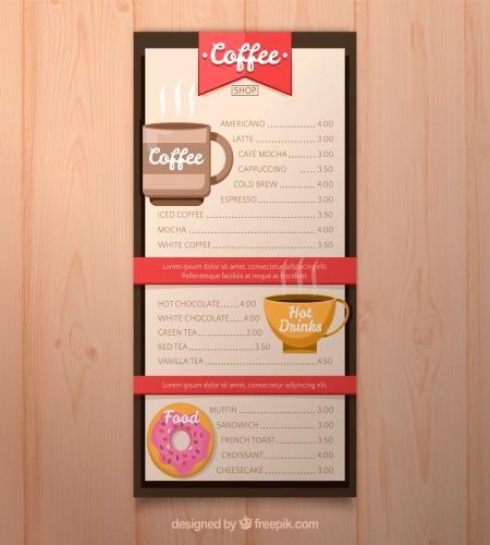 تصميم قوائم المطاعم والمقاهي بطريقه جميله ملف مفتوح تحميل مباشر Coffee Shop Menu Coffee Shop Vanilla Tea