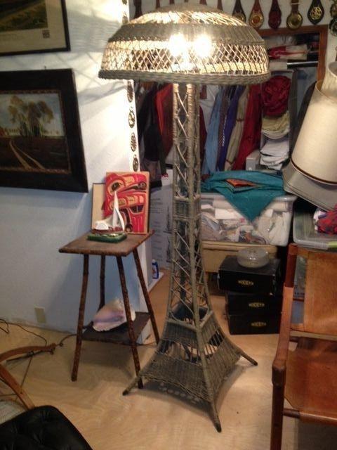 """Antique Victorian Wicker """"Eiffel Tower"""" Floor Lamp #Victorian #unknown"""