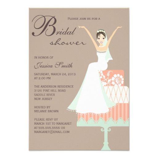 Cheap Price Guarantee Bride Cake Personalized Bridal Shower Invitation