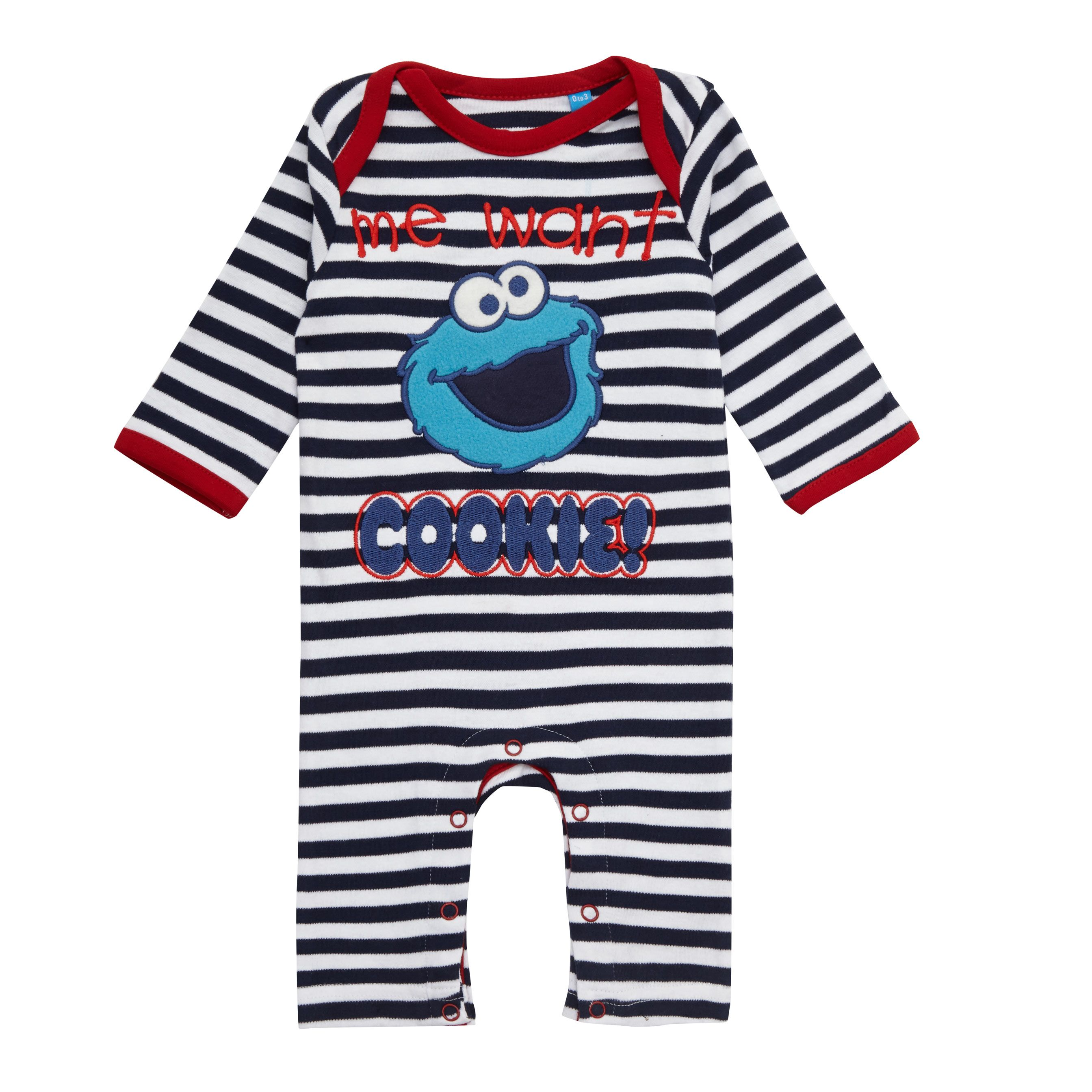 Blue Striped Cookie Monster Babygrow for £7 99 fabfind