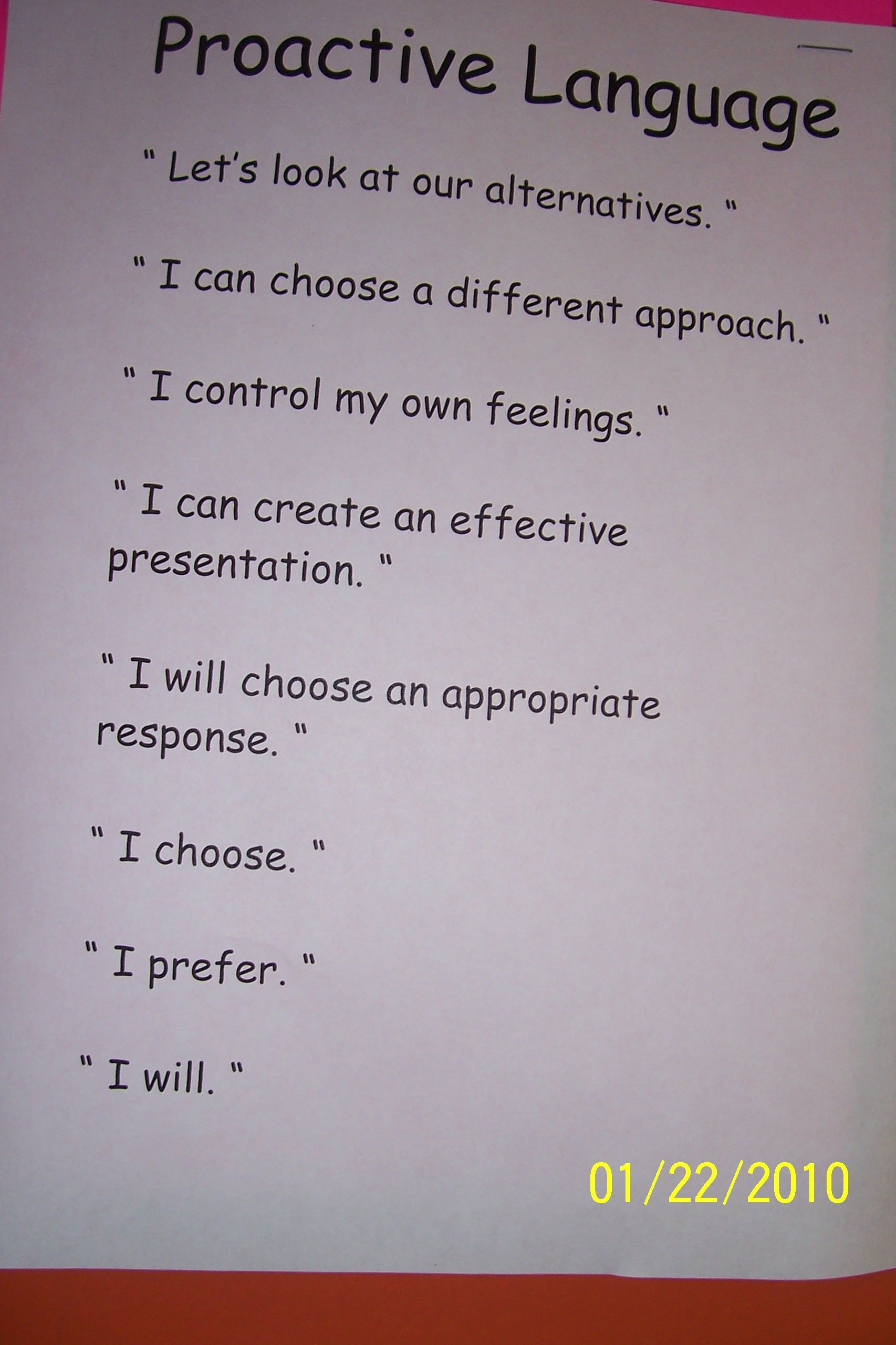 The Leader In Me Proactive Language Link To Several Pics Of Implementing The Lim Around The