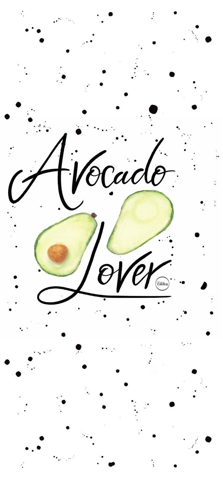 Avocado, iPhone wallpaper, calligraphy, watercolor
