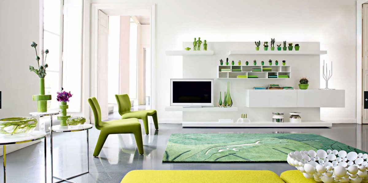 Green White Modern Living Room 1200x599