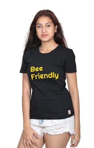5cb5fa8de12a5e Black Color Crew Neck Half Sleeve Bee Friendly Cotton T-Shirt -  201010105010203