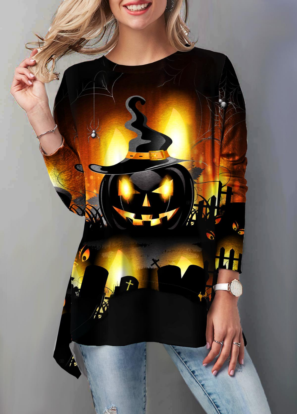 Halloween Pumpkin Print Round Neck T Shirt Trendy tops