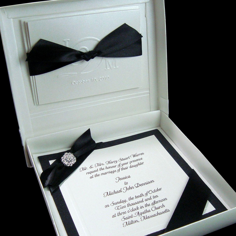 Boxed Couture Wedding Invitations - Wedding Invite - Black - White ...