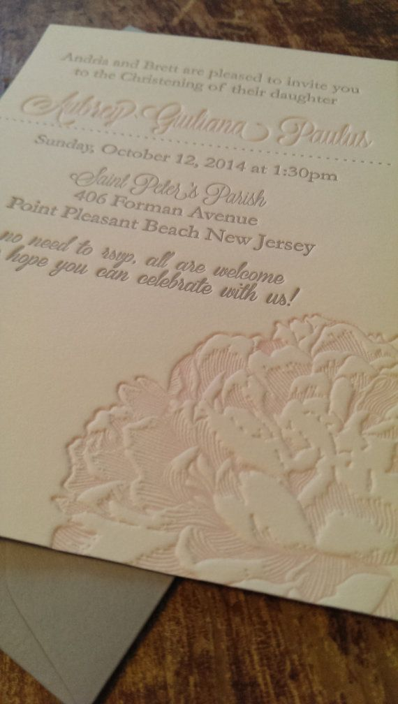 Beautiful Peony Letterpress Baptism Invitation Affordable And