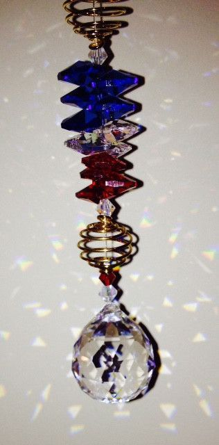 30mm Crystal Ball Red, White  Blue Crystal Octagons Handmade