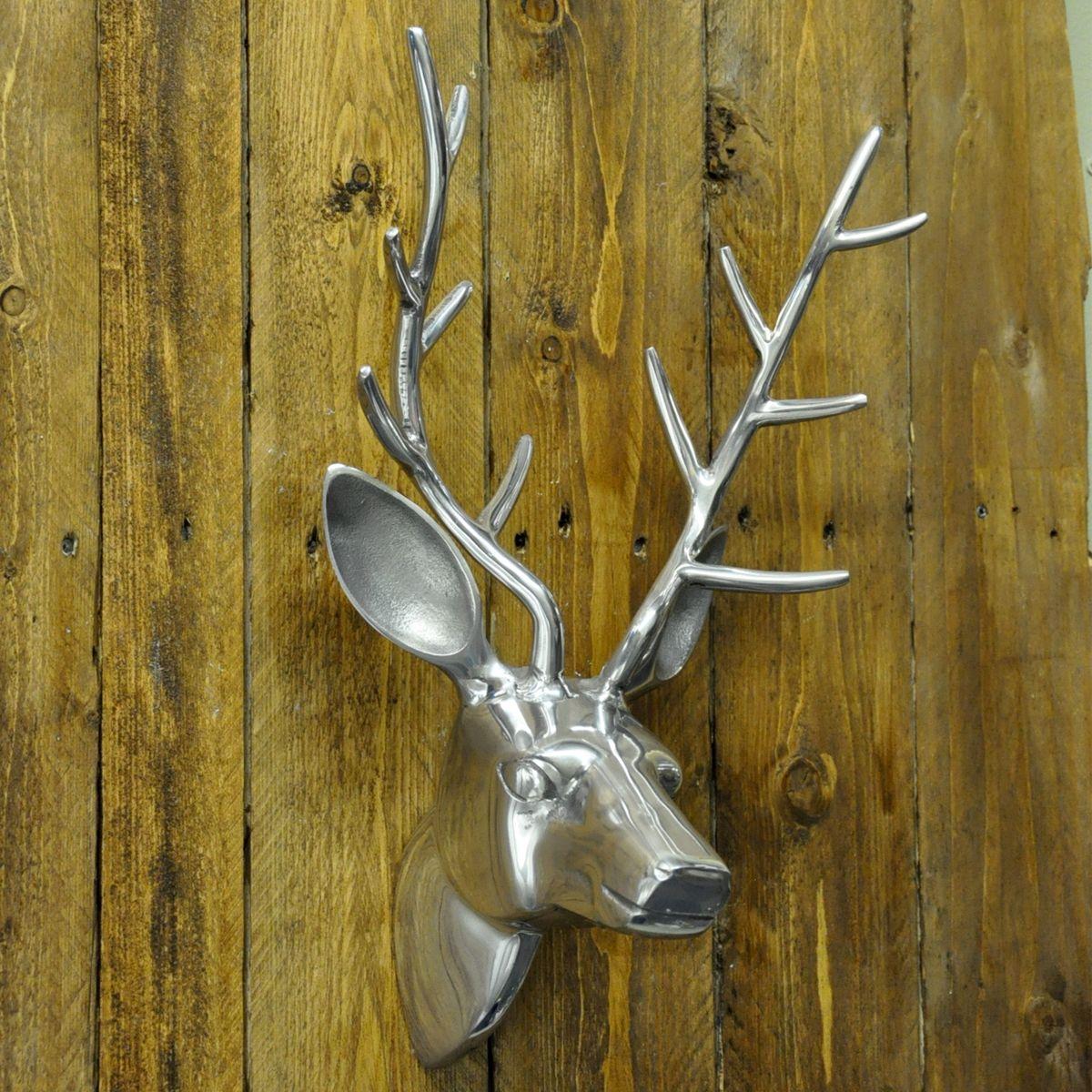 Large Nickel Plated Wall Mounted Deer Stags Head | Bathroom Inspo ...