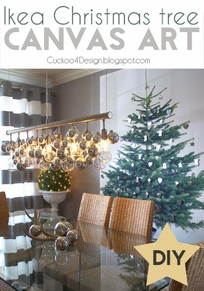 Diy Christmas Tree Canvas Art With Ikea Fabric Great For