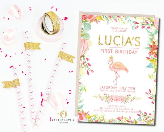 Flamingo Birthday Party Invitation Pool Summer First P