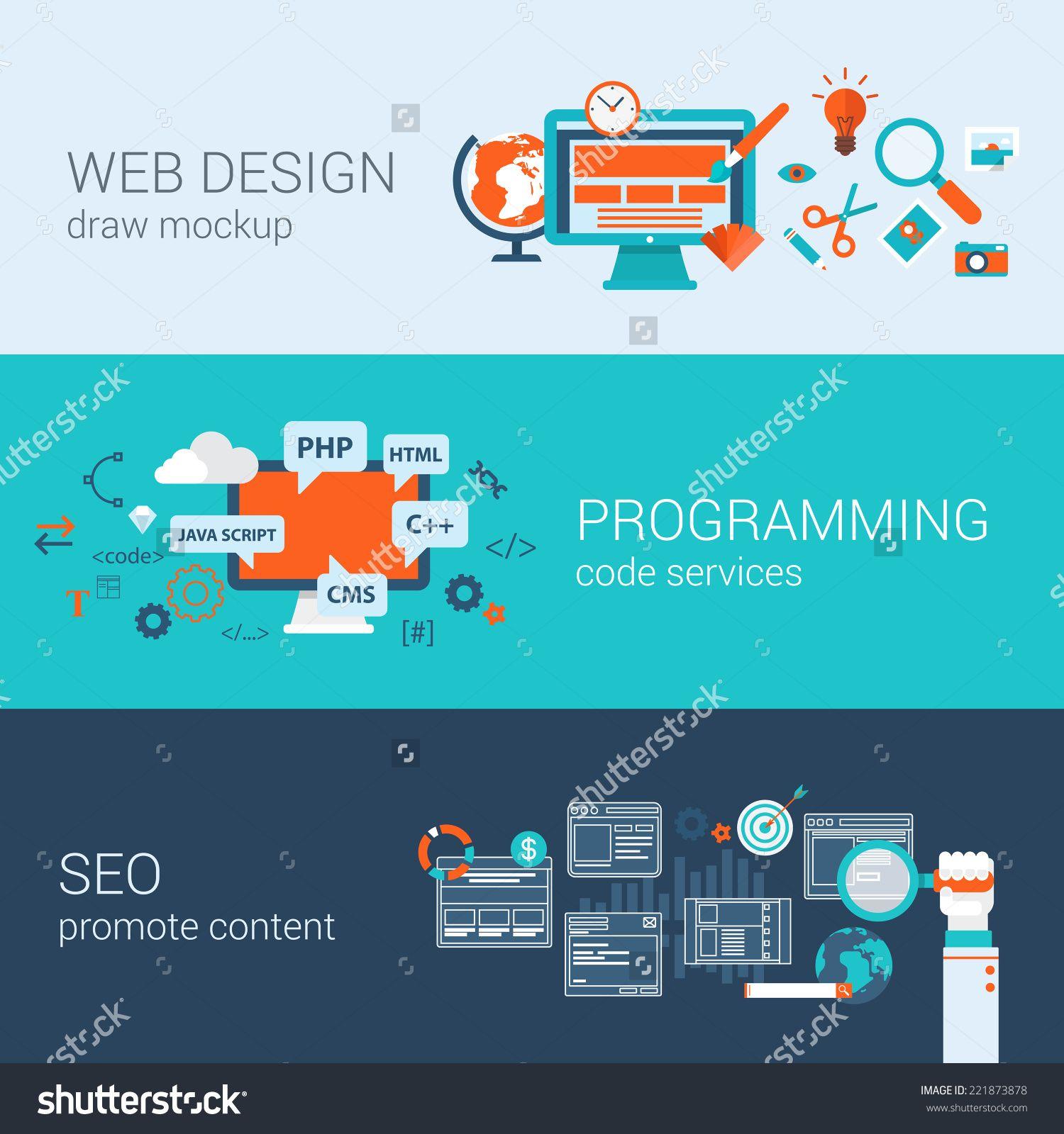 Web Design Programming Seo Concept Flat Web Banners