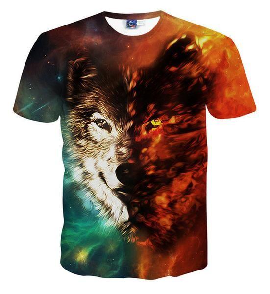 3D t shirt lion printed t-shirts men's fashion short sleeve t-shirt men women