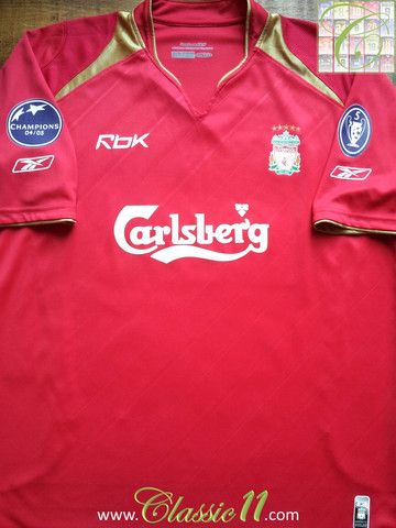 fcd96db38 Relive Liverpool s 2005 2006 European season with this vintage Reebok home football  shirt.