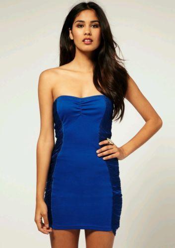 0999d48b Paprika Topshop ASOS Blue Fringe Strapless bandeau Dress Size US2 UK8  Nastygal