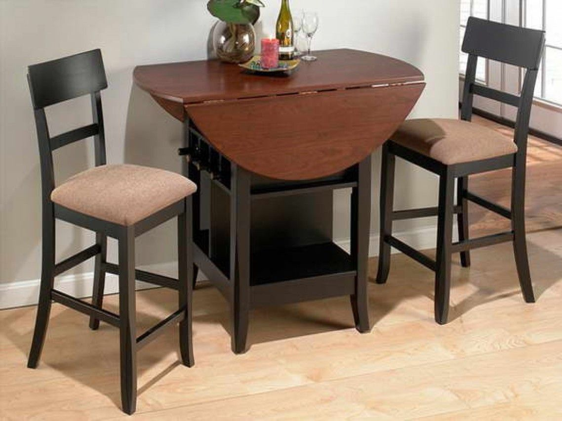 Black High Gloss Polished Wooden Dining Table With Brown Drop Leaf Top Having Wine Bottle Storage Dining Room