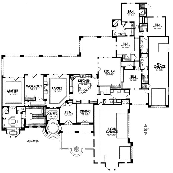 1421 6575 5 Bedrooms And 4 Baths The House Designers Floor Plans House Plans Mediterranean House Plans