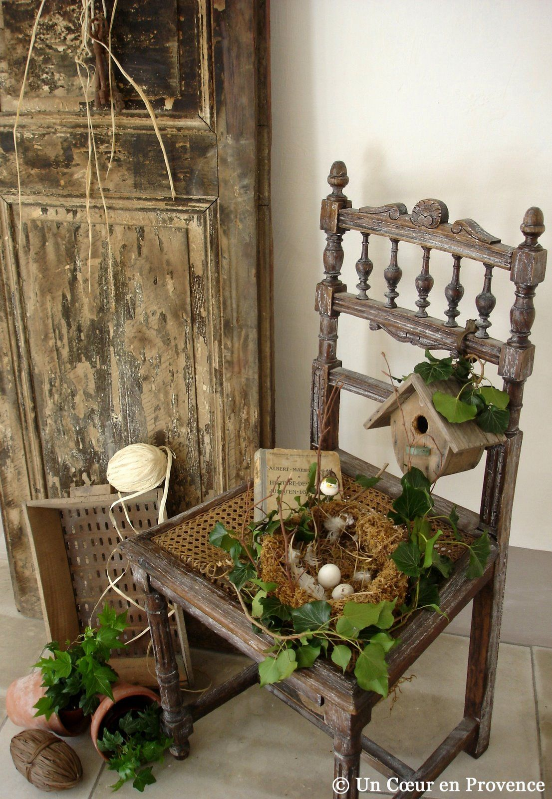 Easter spring vignette with chair disclaimer i do not for Rustic outdoor decorating