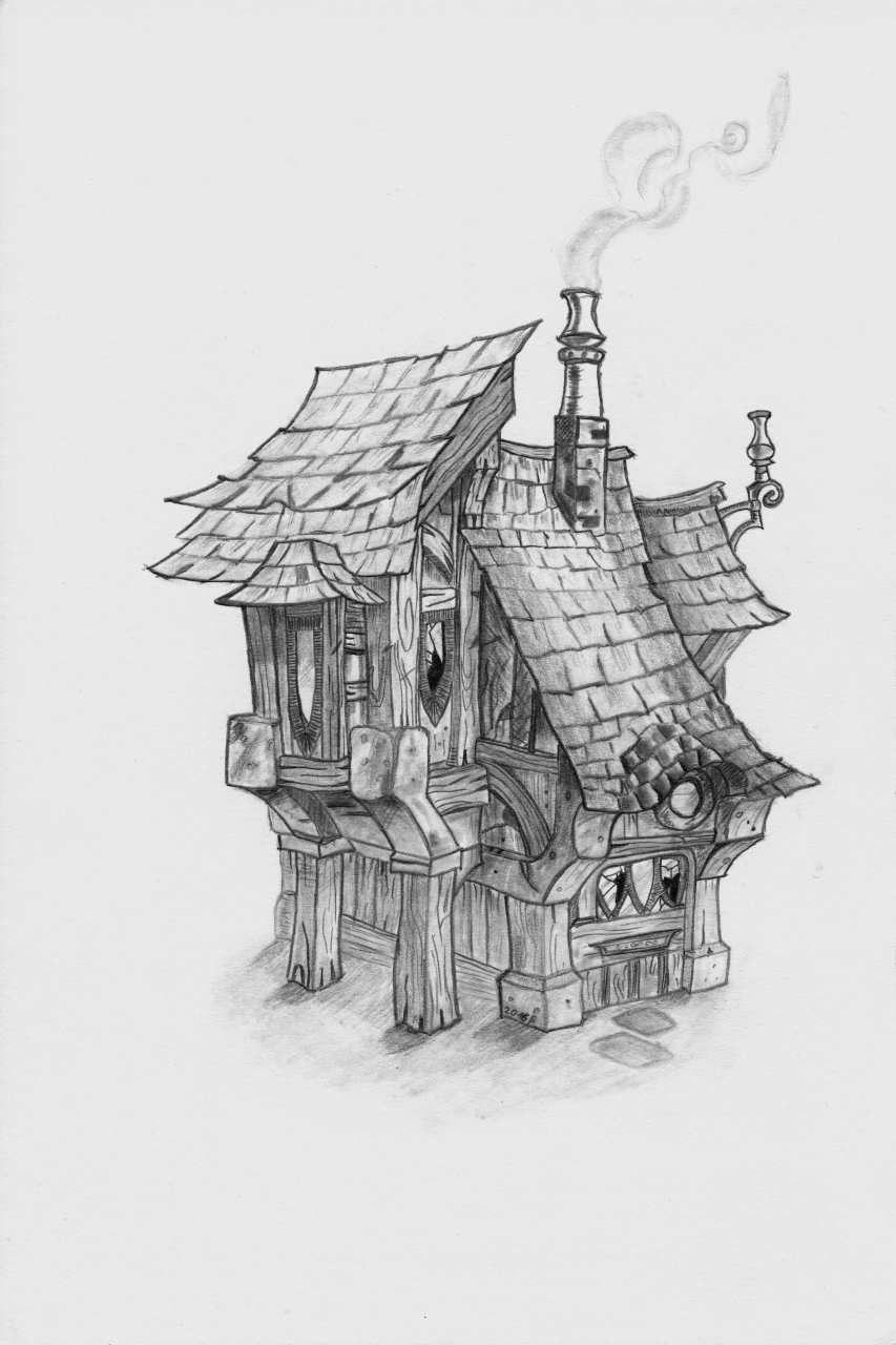 mei erstes Häusl Landschaftszeichnungen, Architektur